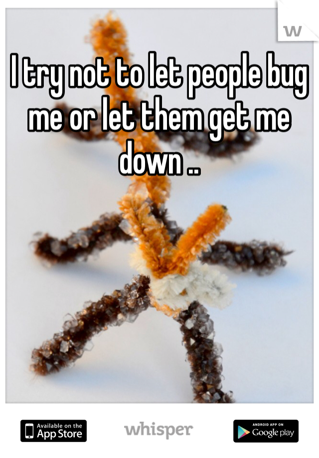 I try not to let people bug me or let them get me down ..