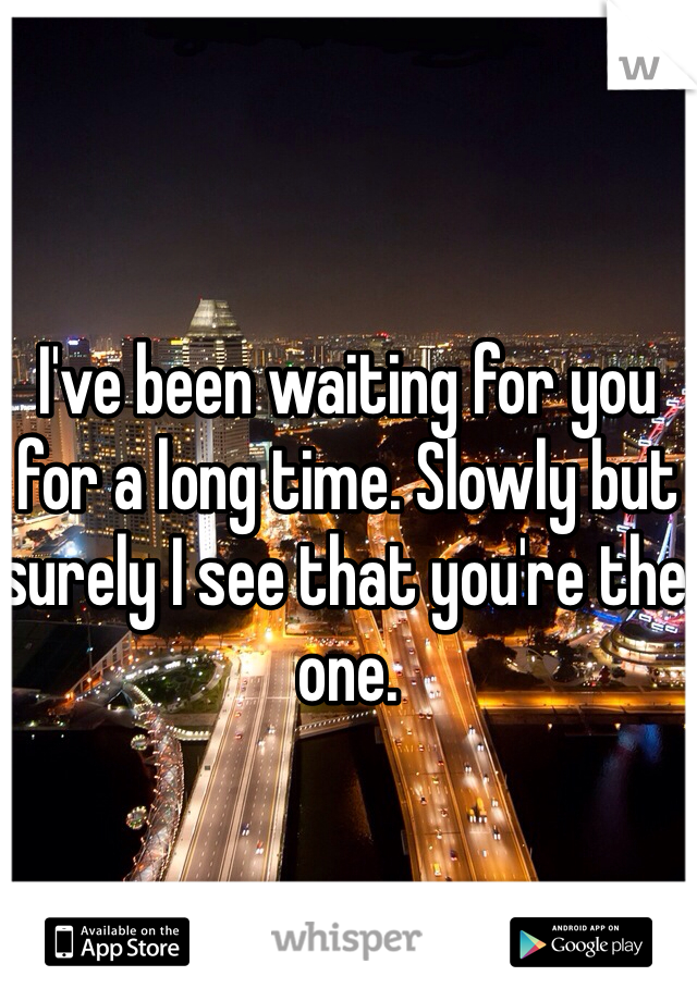 I've been waiting for you for a long time. Slowly but surely I see that you're the one.