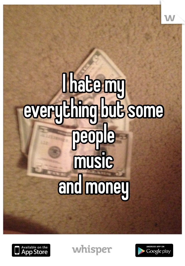 I hate my  everything but some  people   music and money