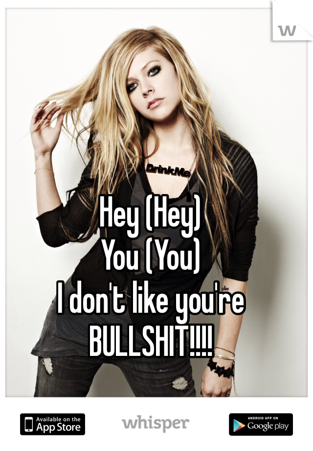 Hey (Hey) You (You) I don't like you're  BULLSHIT!!!!