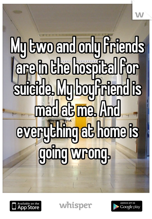 My two and only friends are in the hospital for suicide. My boyfriend is mad at me. And everything at home is going wrong.