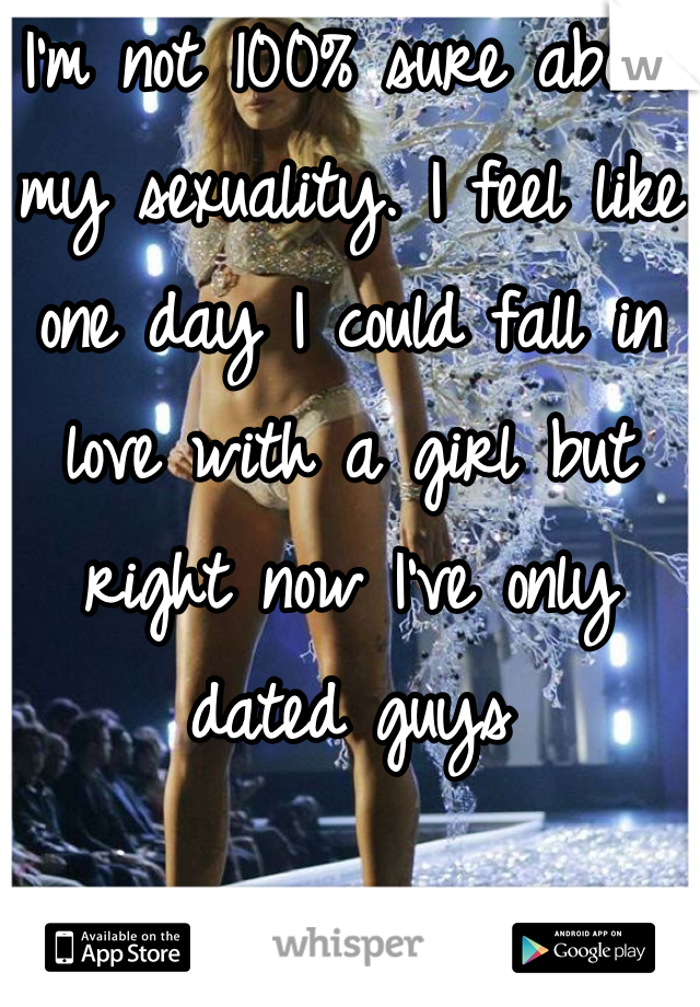 I'm not 100% sure about my sexuality. I feel like one day I could fall in love with a girl but right now I've only dated guys