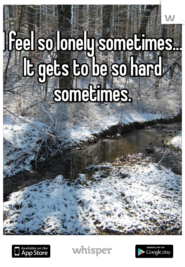 I feel so lonely sometimes... It gets to be so hard sometimes.