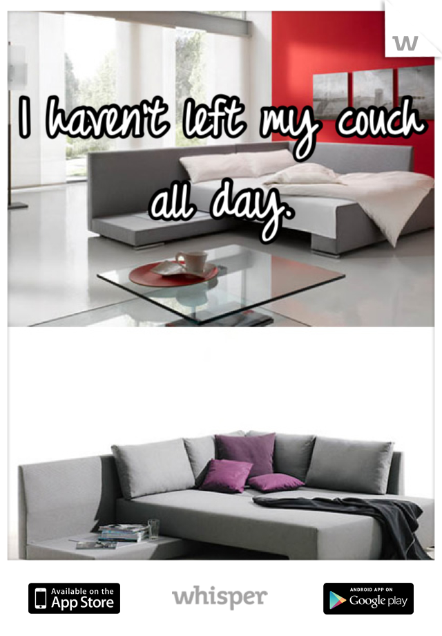 I haven't left my couch all day.