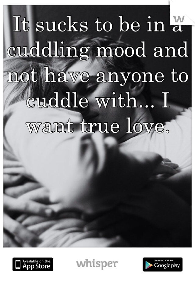 It sucks to be in a cuddling mood and not have anyone to cuddle with... I want true love.