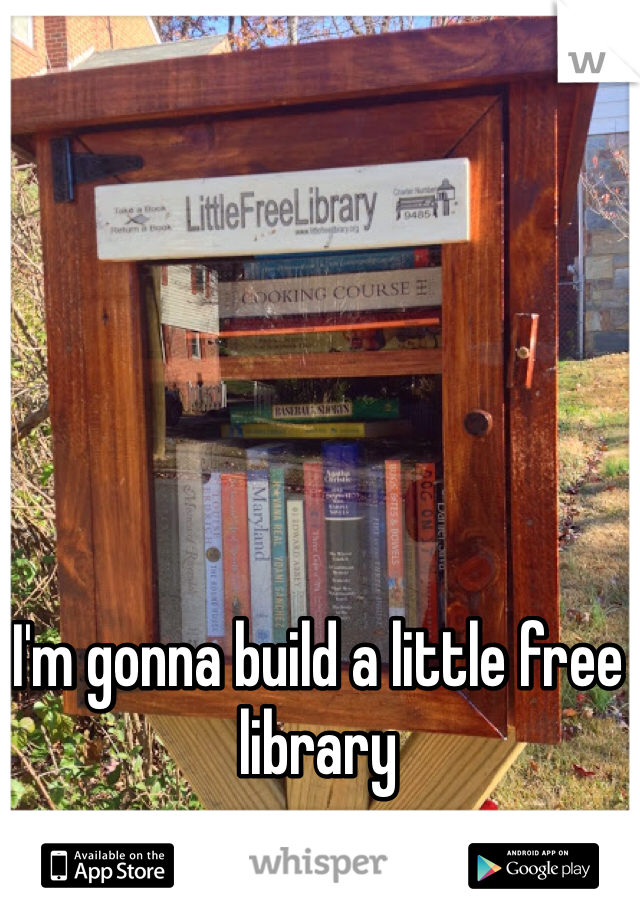 I'm gonna build a little free library