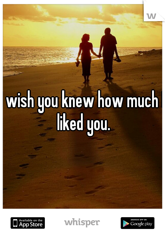 I wish you knew how much I liked you.