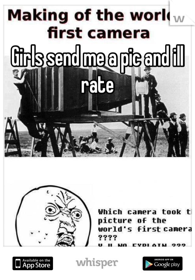 Girls send me a pic and ill rate
