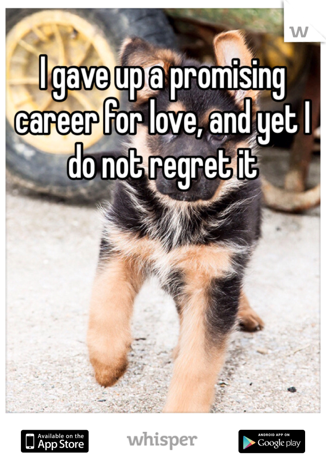 I gave up a promising career for love, and yet I do not regret it