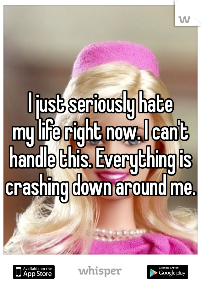 I just seriously hate  my life right now. I can't handle this. Everything is crashing down around me.