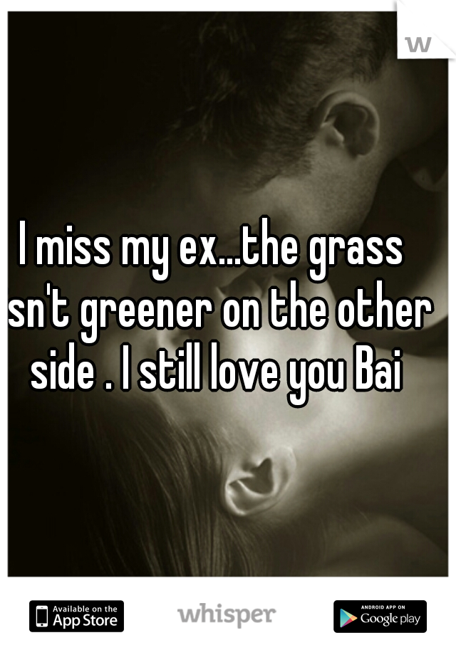 I miss my ex...the grass isn't greener on the other side . I still love you Bai