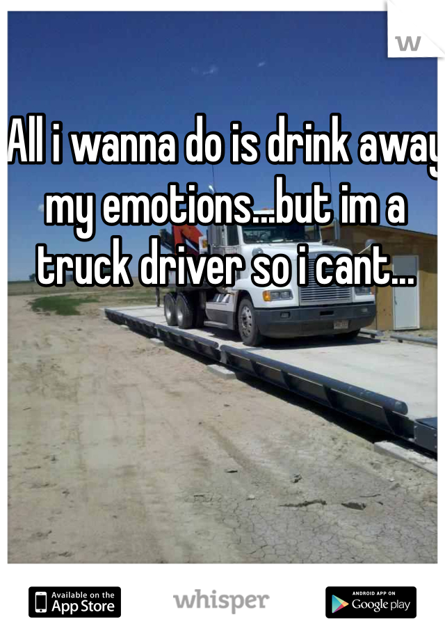 All i wanna do is drink away my emotions...but im a truck driver so i cant...