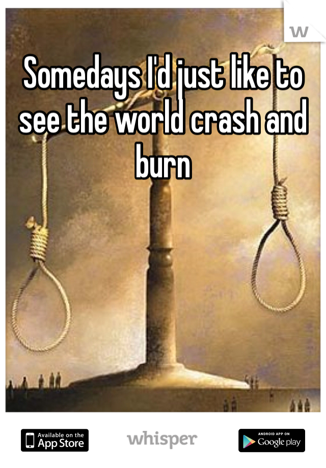 Somedays I'd just like to see the world crash and burn