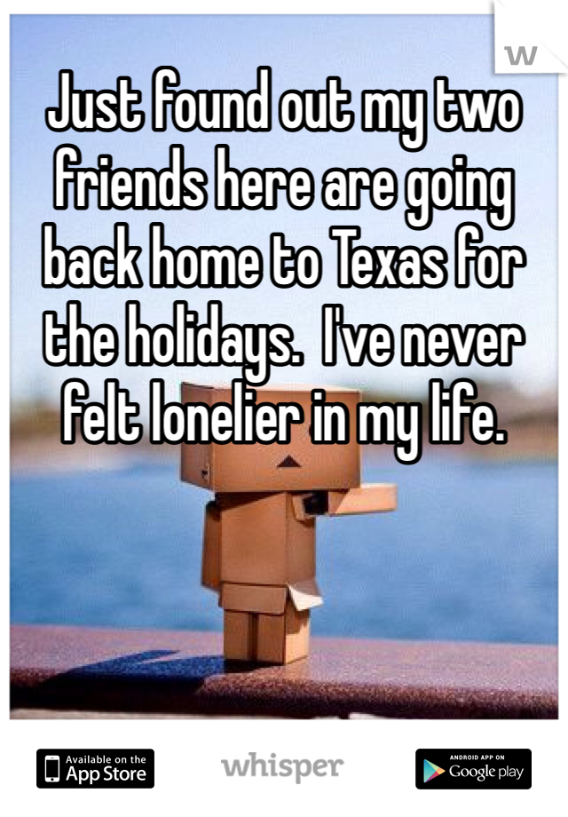 Just found out my two friends here are going back home to Texas for the holidays.  I've never felt lonelier in my life.