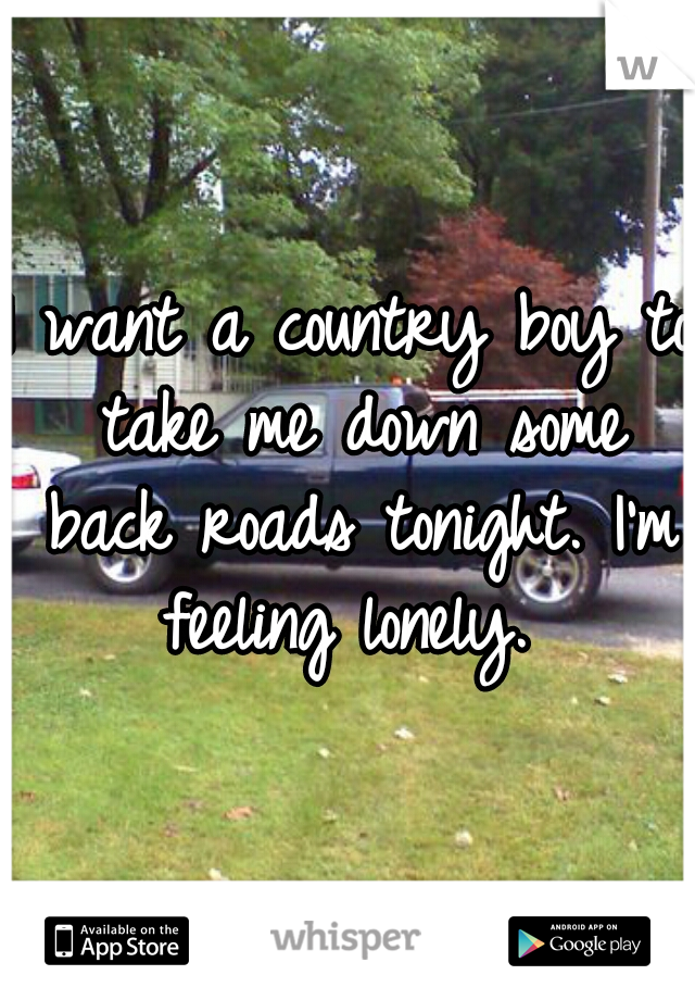I want a country boy to take me down some back roads tonight. I'm feeling lonely.