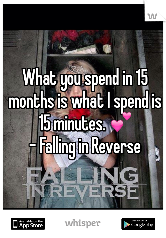 What you spend in 15 months is what I spend is 15 minutes. 💕 - Falling in Reverse