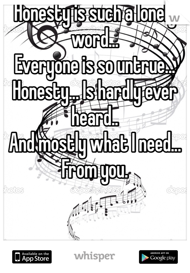 Honesty is such a lonely word... Everyone is so untrue... Honesty... Is hardly ever heard.. And mostly what I need... From you.