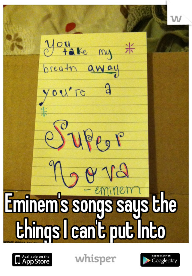 Eminem's songs says the things I can't put Into words