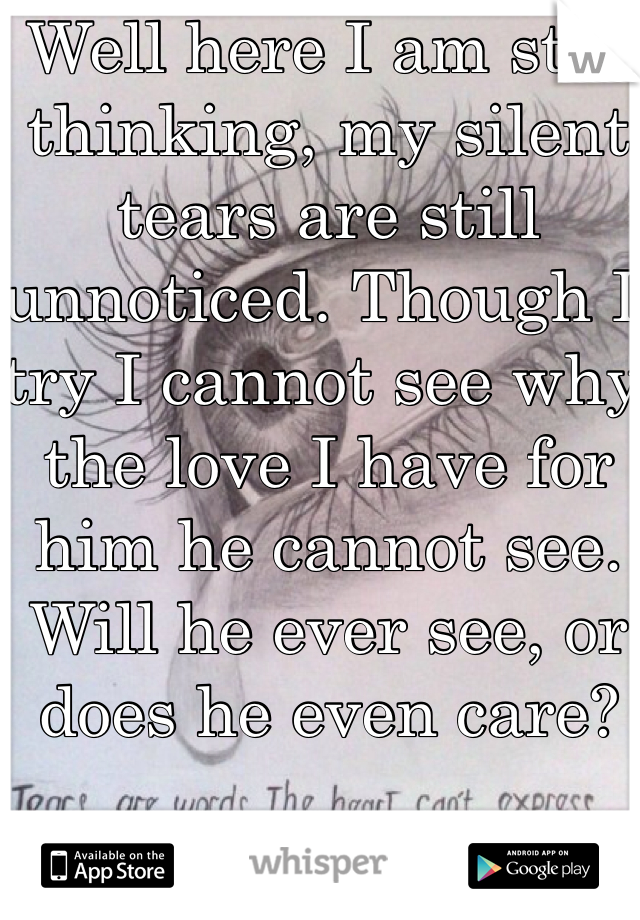 Well here I am still thinking, my silent tears are still unnoticed. Though I try I cannot see why the love I have for him he cannot see. Will he ever see, or does he even care?