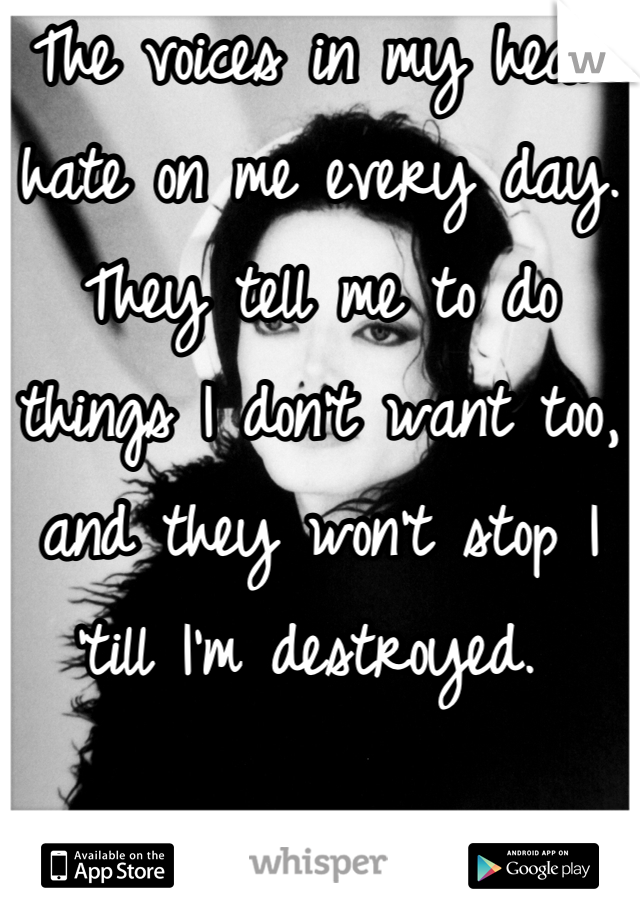 The voices in my head hate on me every day. They tell me to do things I don't want too, and they won't stop I 'till I'm destroyed.