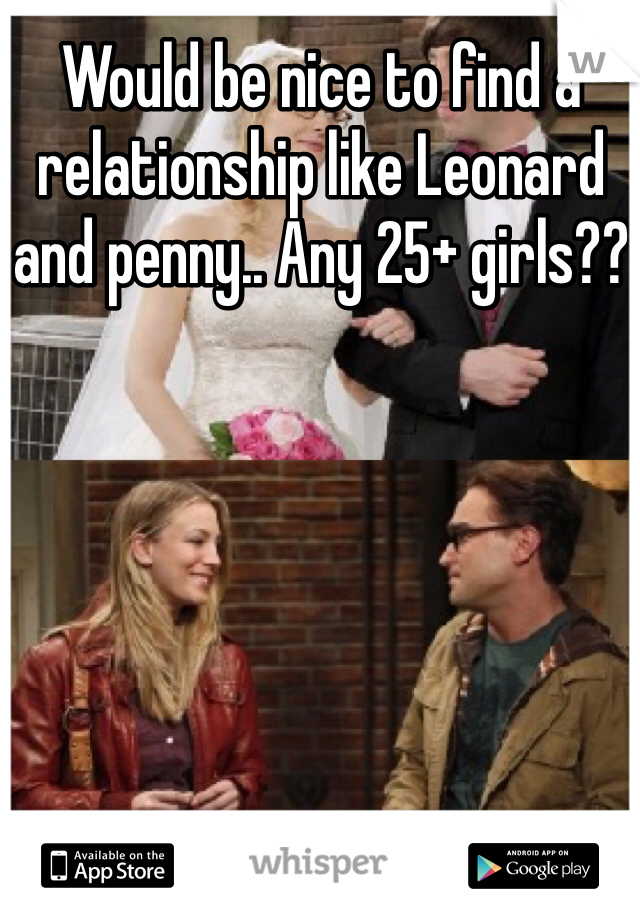 Would be nice to find a relationship like Leonard and penny.. Any 25+ girls??