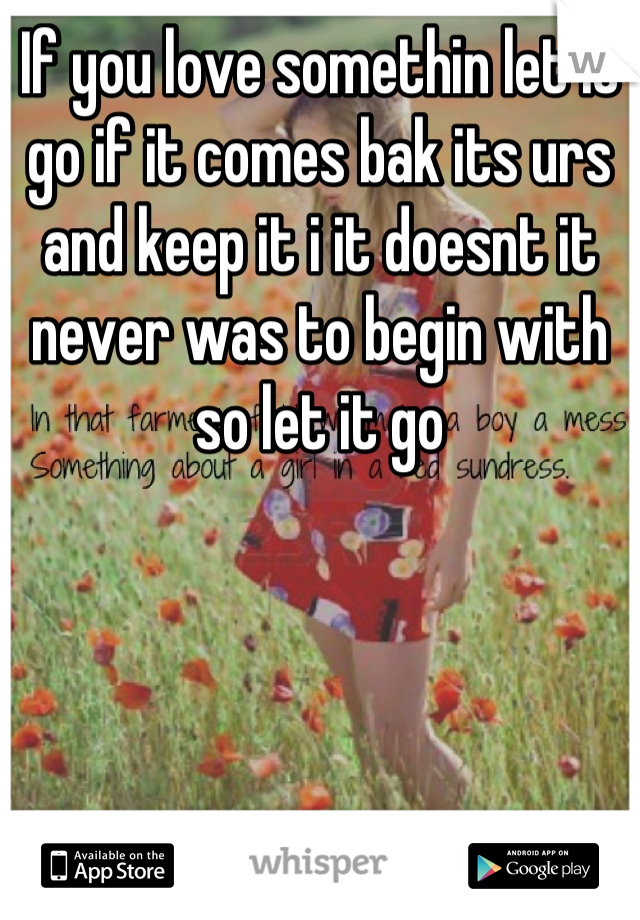 If you love somethin let it go if it comes bak its urs and keep it i it doesnt it never was to begin with so let it go