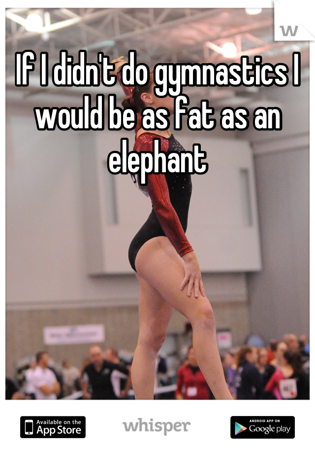 If I didn't do gymnastics I would be as fat as an elephant