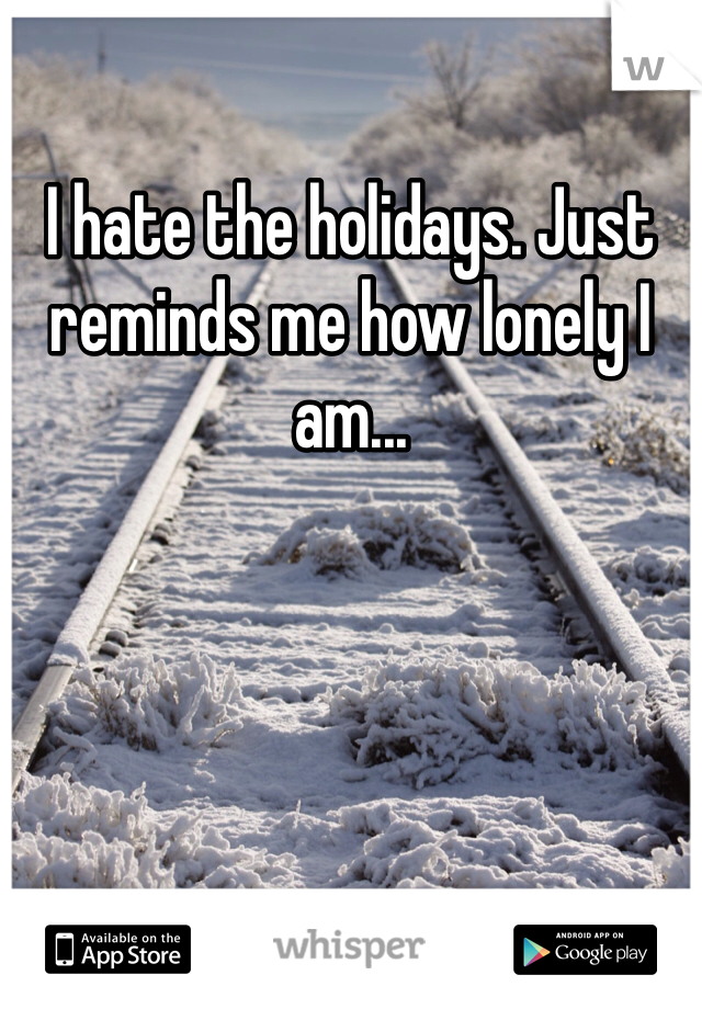 I hate the holidays. Just reminds me how lonely I am...