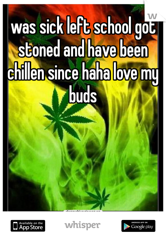 was sick left school got stoned and have been chillen since haha love my buds
