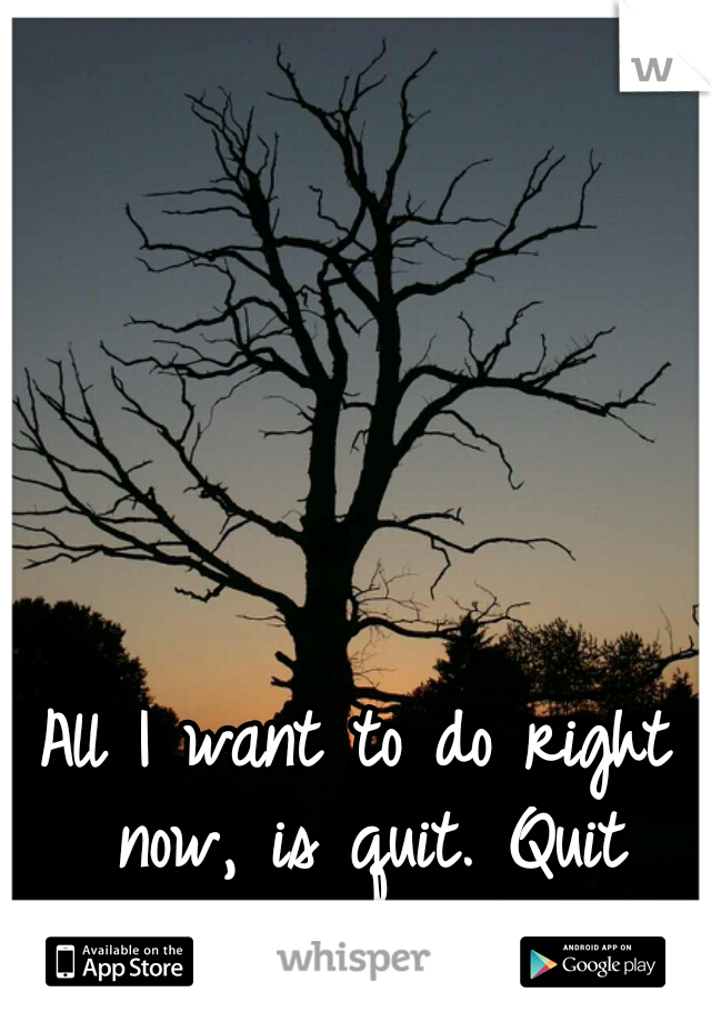 All I want to do right now, is quit. Quit everything. Quit life.