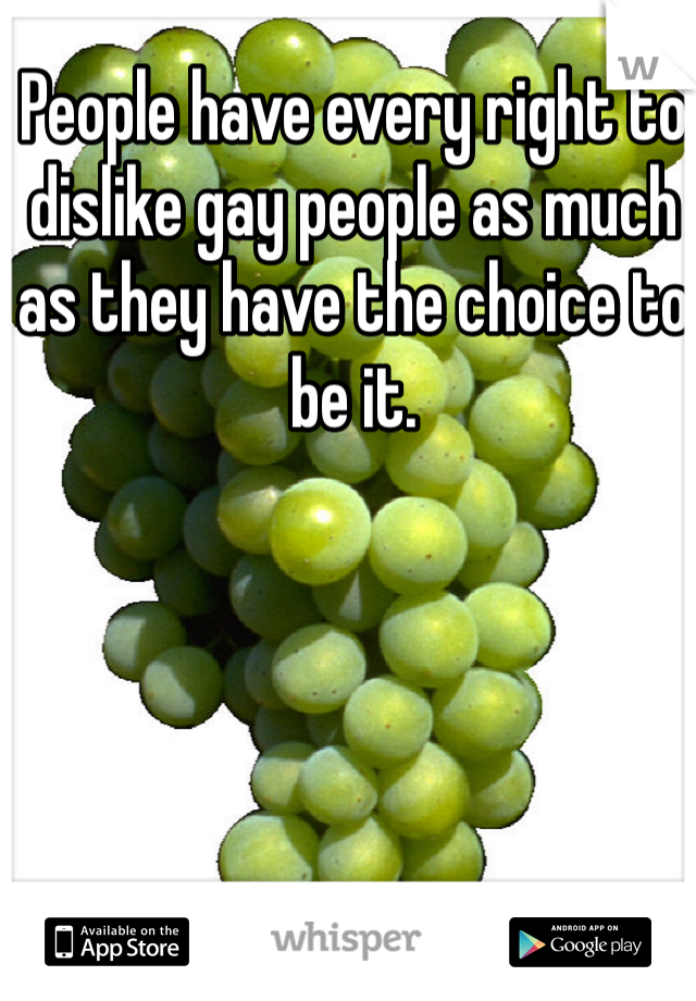 People have every right to dislike gay people as much as they have the choice to be it.