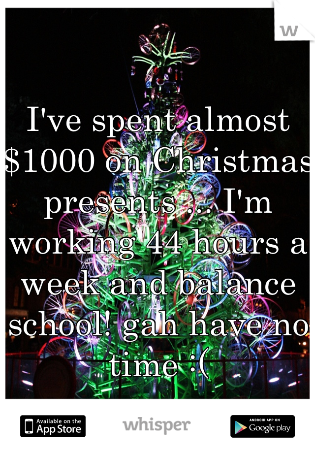 I've spent almost $1000 on Christmas presents ... I'm working 44 hours a week and balance school! gah have no time :(