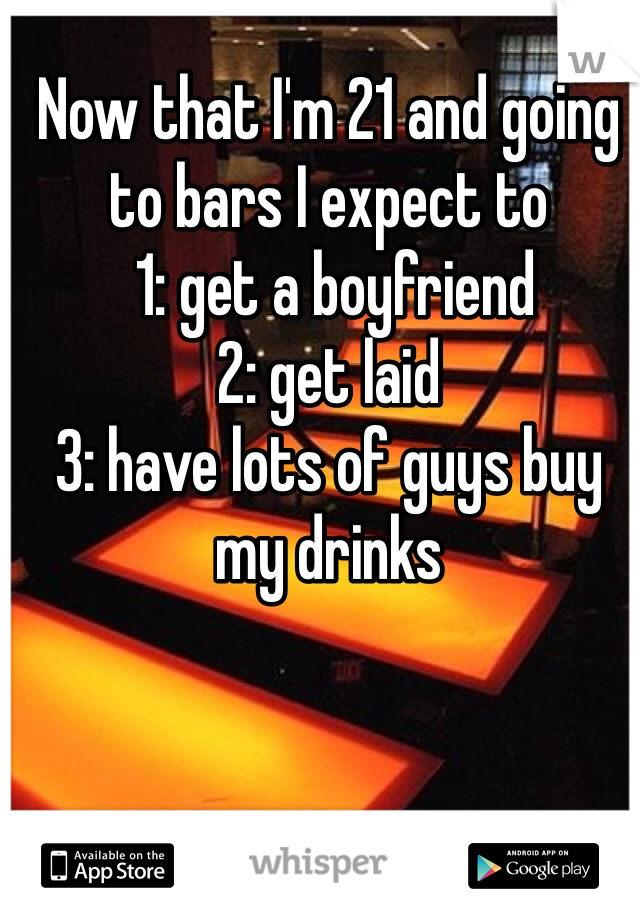 Now that I'm 21 and going to bars I expect to  1: get a boyfriend 2: get laid  3: have lots of guys buy my drinks
