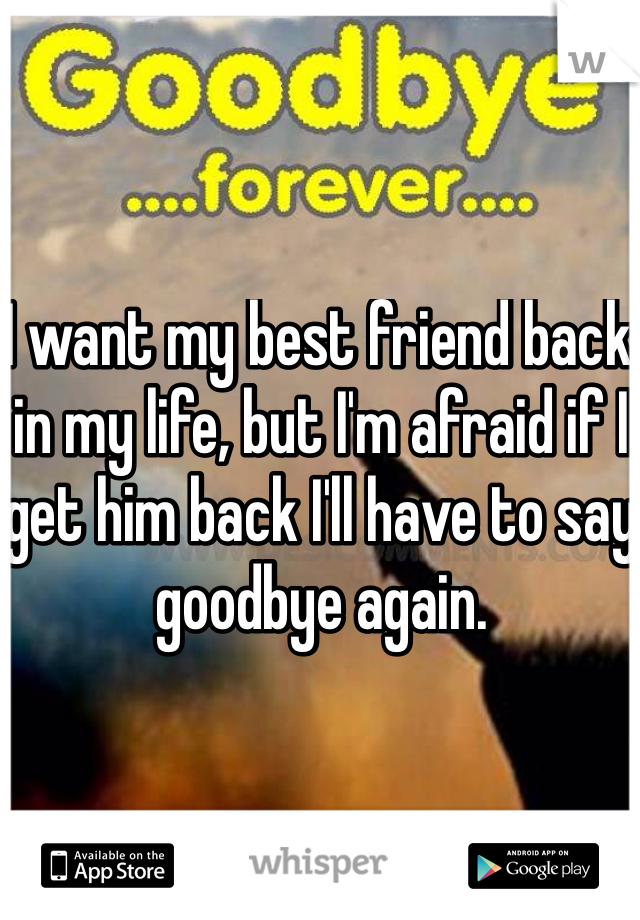 I want my best friend back in my life, but I'm afraid if I get him back I'll have to say goodbye again.