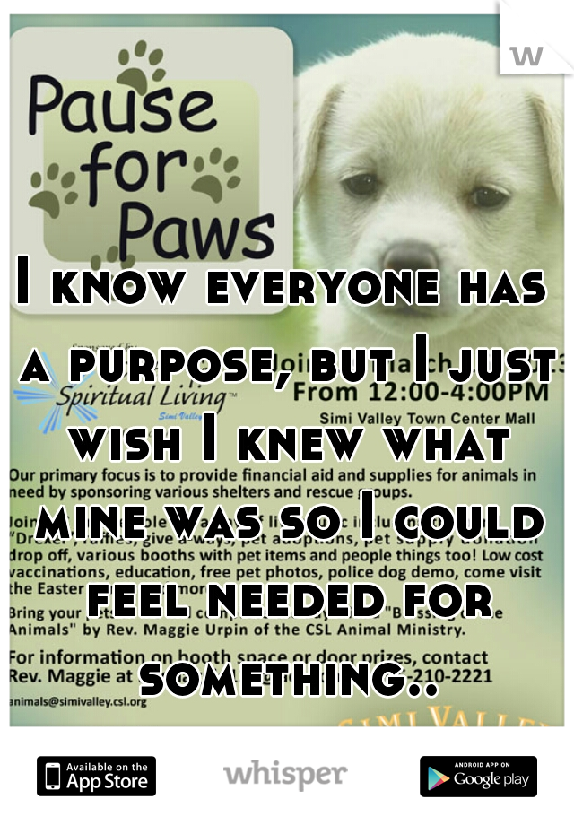 I know everyone has a purpose, but I just wish I knew what mine was so I could feel needed for something..