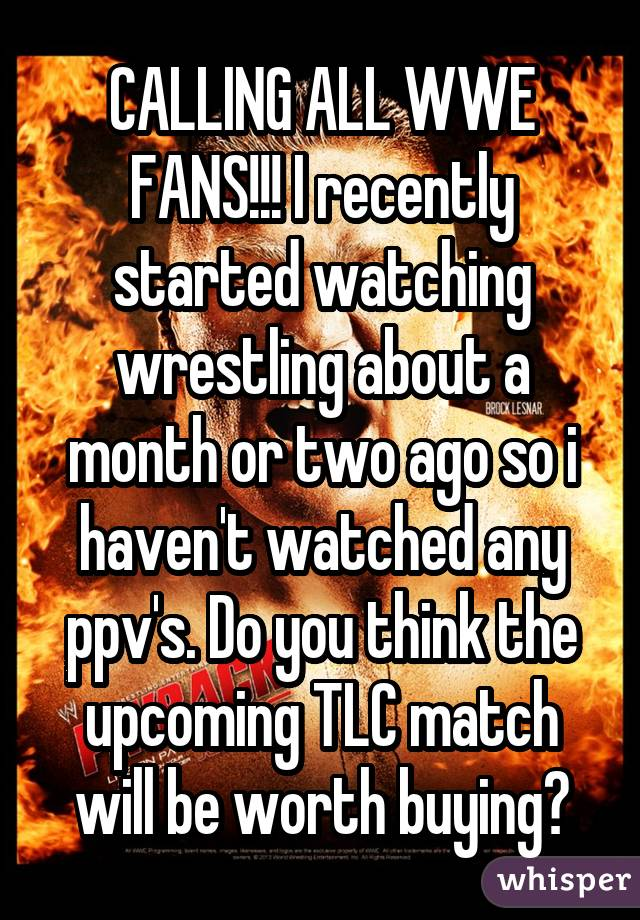 CALLING ALL WWE FANS!!! I recently started watching wrestling about a month or two ago so i haven't watched any ppv's. Do you think the upcoming TLC match will be worth buying?