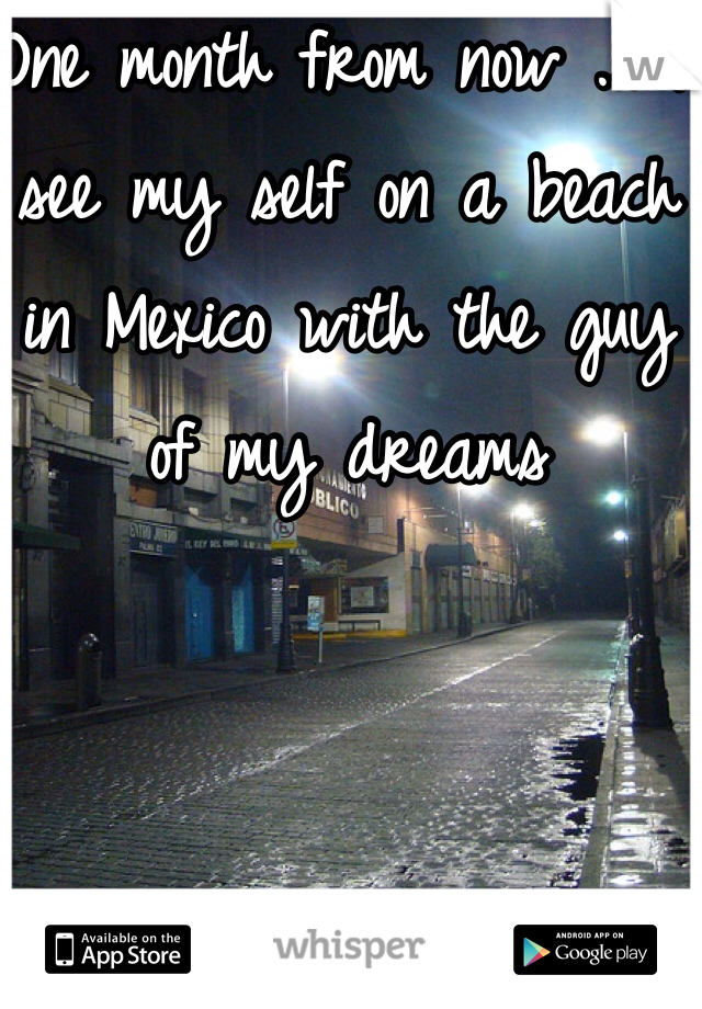 One month from now ... I see my self on a beach in Mexico with the guy of my dreams