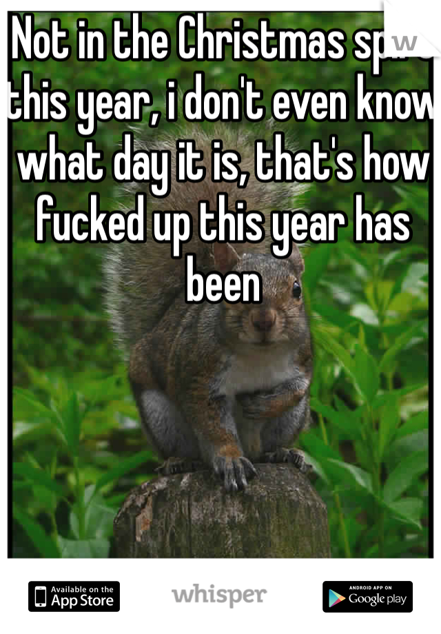 Not in the Christmas spirt this year, i don't even know what day it is, that's how fucked up this year has been
