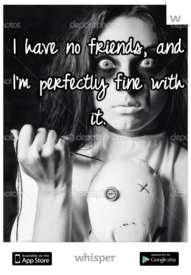 I have no friends, and I'm perfectly fine with it.