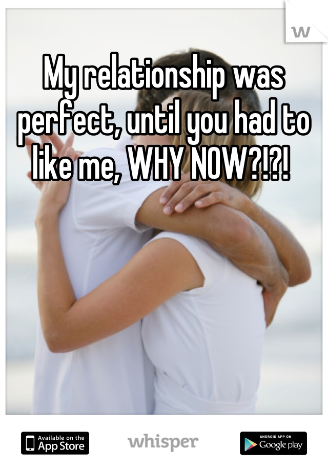 My relationship was perfect, until you had to like me, WHY NOW?!?!