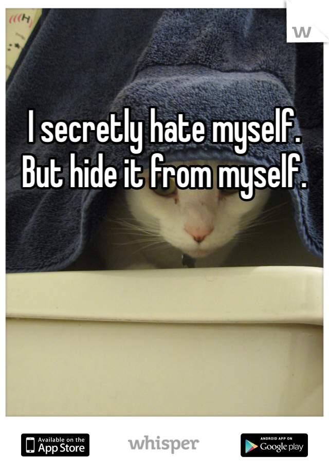 I secretly hate myself. But hide it from myself.