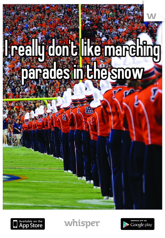 I really don't like marching parades in the snow