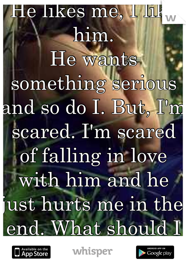 He likes me, I like him. He wants something serious and so do I. But, I'm scared. I'm scared of falling in love with him and he just hurts me in the end. What should I do?