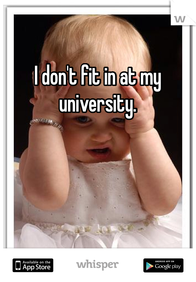 I don't fit in at my university.