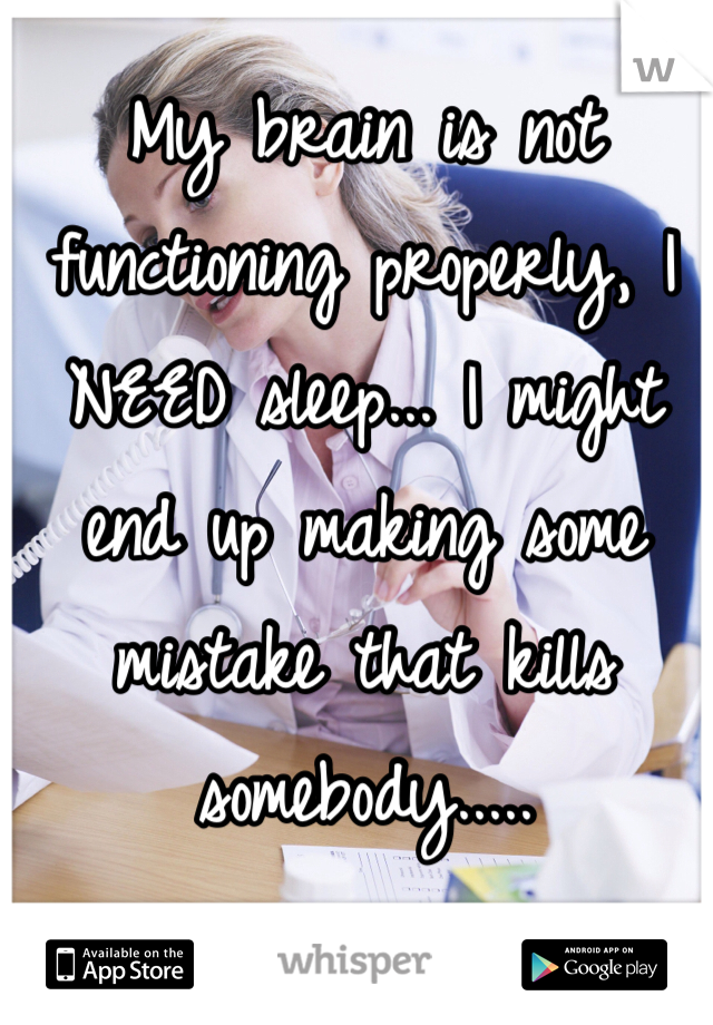 My brain is not functioning properly, I NEED sleep... I might end up making some mistake that kills somebody.....