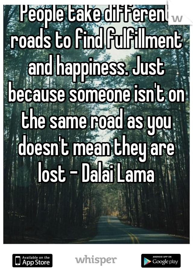 People take different roads to find fulfillment and happiness. Just because someone isn't on the same road as you doesn't mean they are lost - Dalai Lama