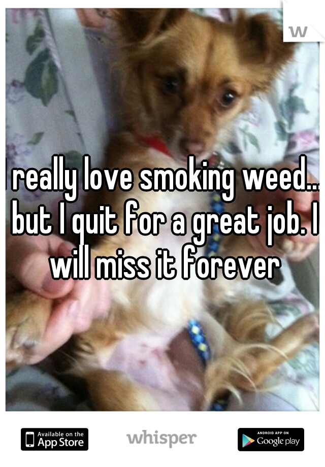 I really love smoking weed... but I quit for a great job. I will miss it forever