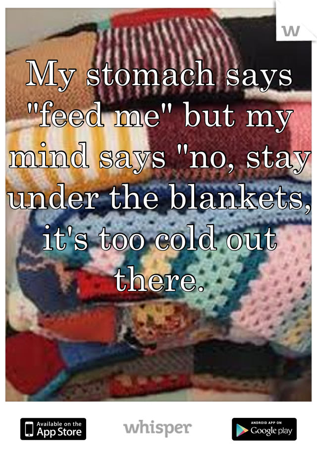 """My stomach says """"feed me"""" but my mind says """"no, stay under the blankets, it's too cold out there."""