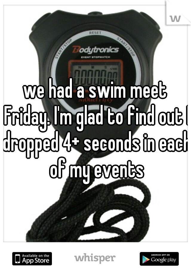 we had a swim meet Friday. I'm glad to find out I dropped 4+ seconds in each of my events
