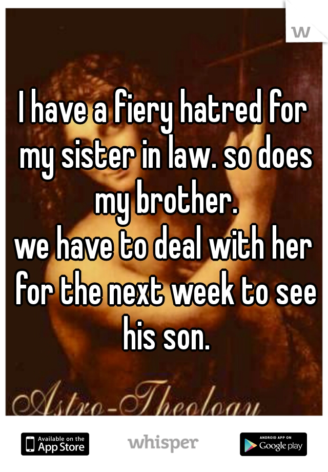 I have a fiery hatred for my sister in law. so does my brother. we have to deal with her for the next week to see his son.
